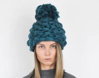 Chunky Pom Pom Winter Hat - Christmas gift for her