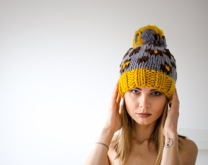 Grey Animal Print Beanie Hat
