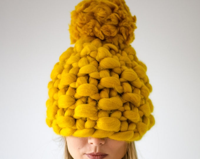 Chunky Knit Hat Pompom Mustard Yellow