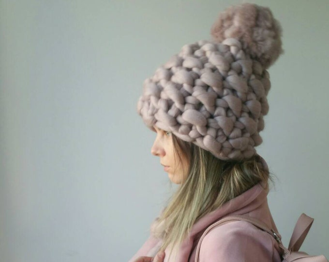 Chunky Pom Pom Winter Hat - Merino Wool - Gift for her Valentine