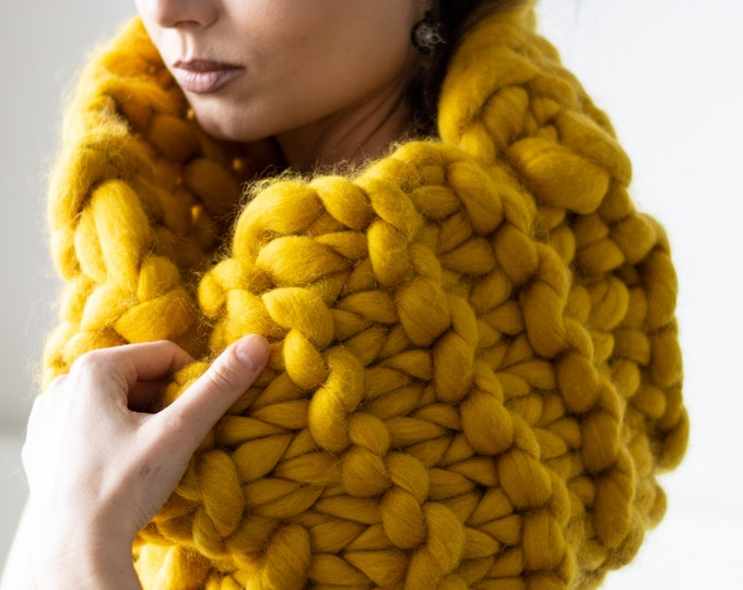 Oversized ONA Snood Shawl Mustard Yellow