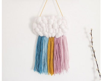 Mini Cloud Woven Wall Hanging in Soft Pastel Rainbow