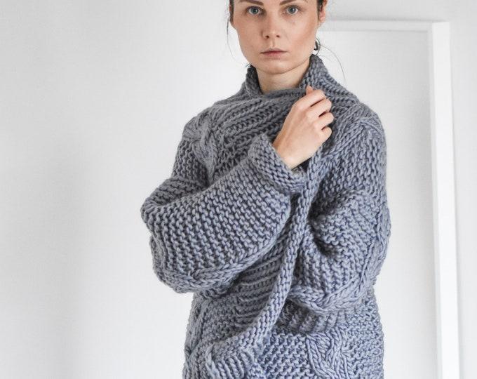 Cardigan Super Chunky Knit Minimal Boho Style