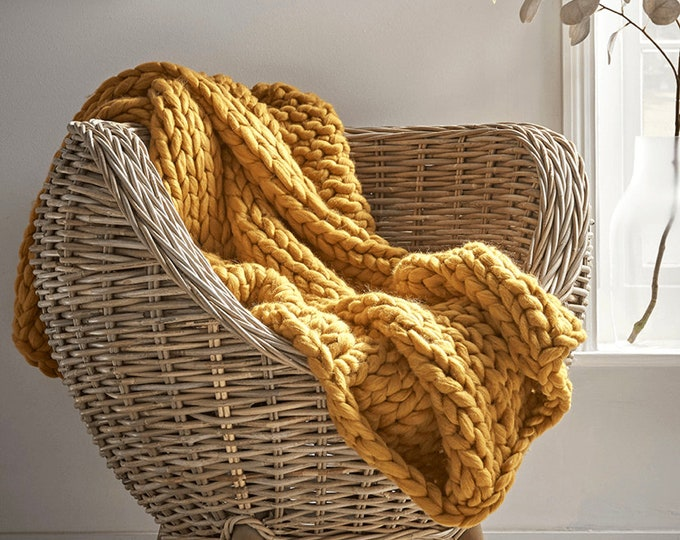 Chunky Knit Throw Mustard Yellow