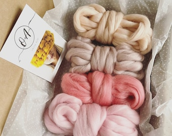 Weaving felting kit set. CHUNKY MERINO WOOL