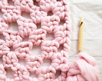 Knit Kit Rug Super Chunky Crochet Kit DIY Giant Granny Square Pink