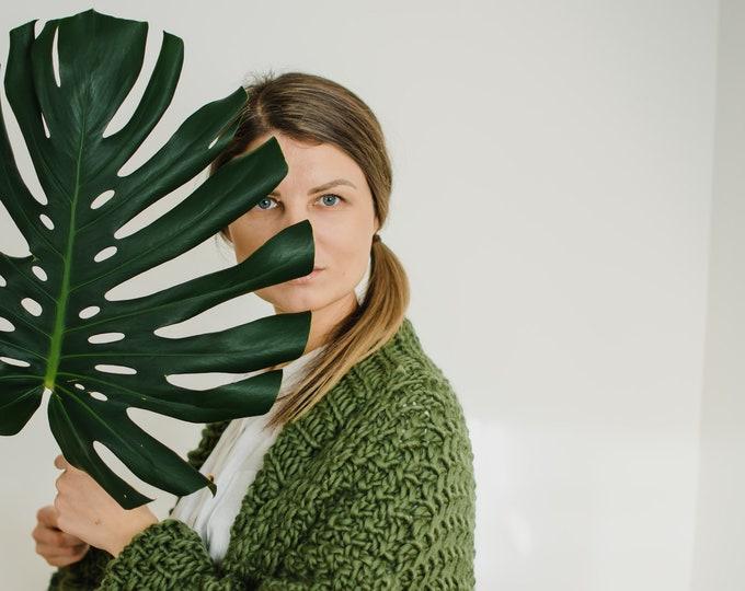 Anaise Chunky Cardigan Merino Wool Handmade Eco Conscious
