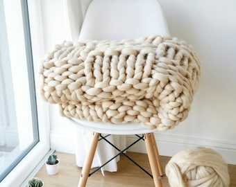 Chunky Knit Blanket. Luxury Bed Runner. Giant Cream Throw. Merino Wool Rug