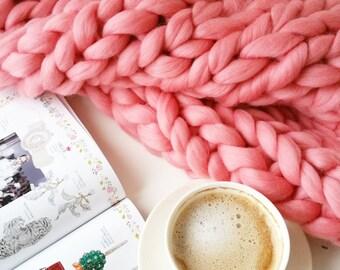 Chunky Knit Blanket. Giant Throw. Merino Wool Extreme Knitting
