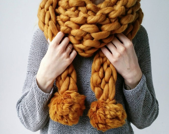 Knit Scarf Chunky Triangle PomPom Snood