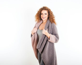 Chunky Knit Coat. Luxury Waterfall Merino Cardigan