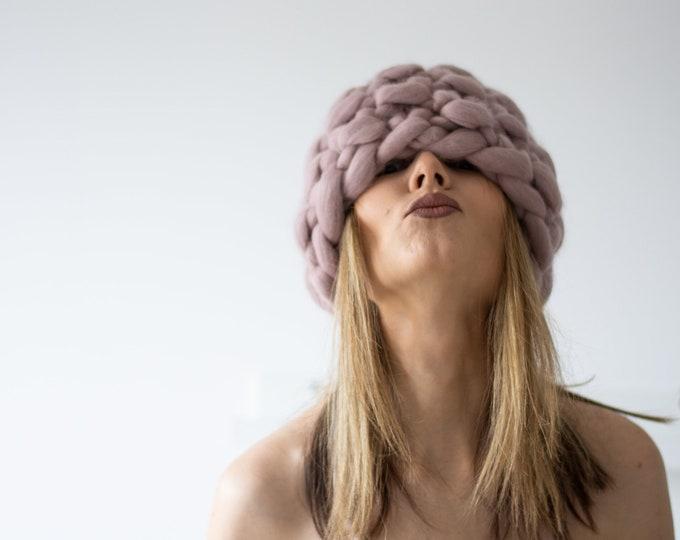 Dusky Pink Chunky PomPom Winter Hat