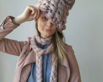 Winter Hat Christmas Chunky Knit PomPom