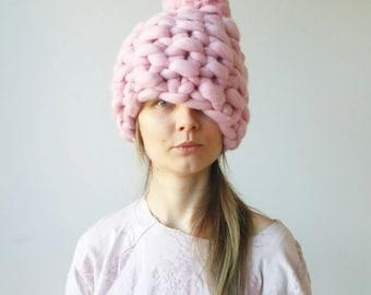 Pink Hat White Christmas Chunky Knit PomPom