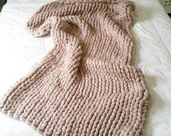 Extreme Knit Blanket. Throw. Merino Wool Blanket