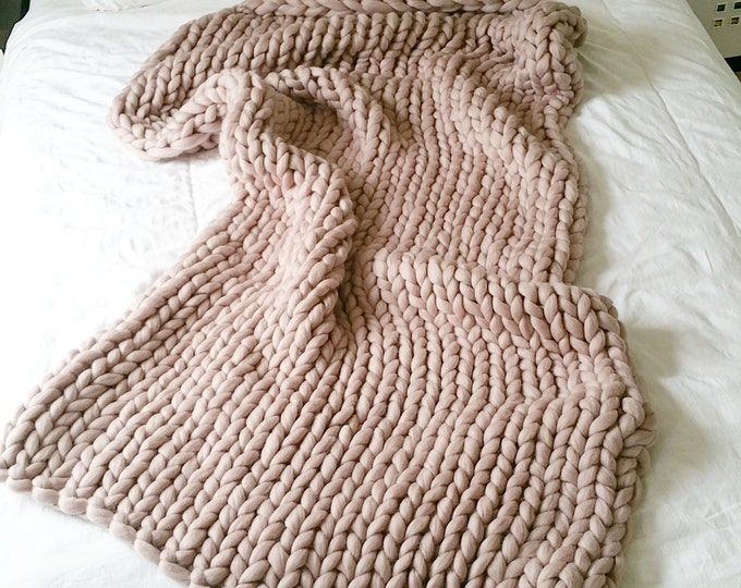 Extreme Knit Blanket. Throw. Merino Wool Blanket