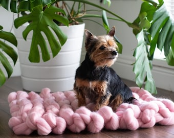 Pet Bed Chunky Knit Dog Cat Bed Floor Mat