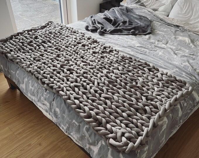 Cotton tube Chunky Knit Blanket Bed Runner