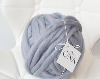 CHUNKY MERINO WOOL Ash Grey Giant Yarn 500g