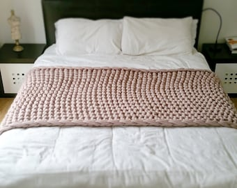Chunky Knit Bed Runner. Merino Wool Throw