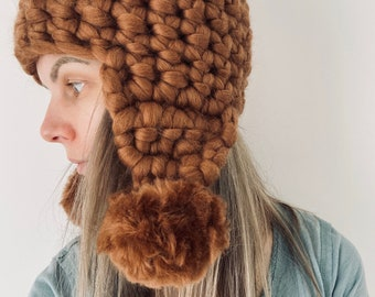 Ear Flap Hat Lagom Chunky Knit Merino Wool