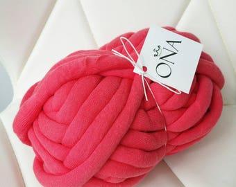 Chunky Cotton Tube yarn Vegan Wool Coral