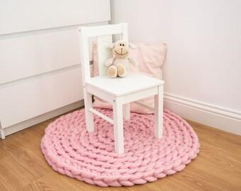 Nursery Rug. Floor Mat. Chunky Knit Round Rug