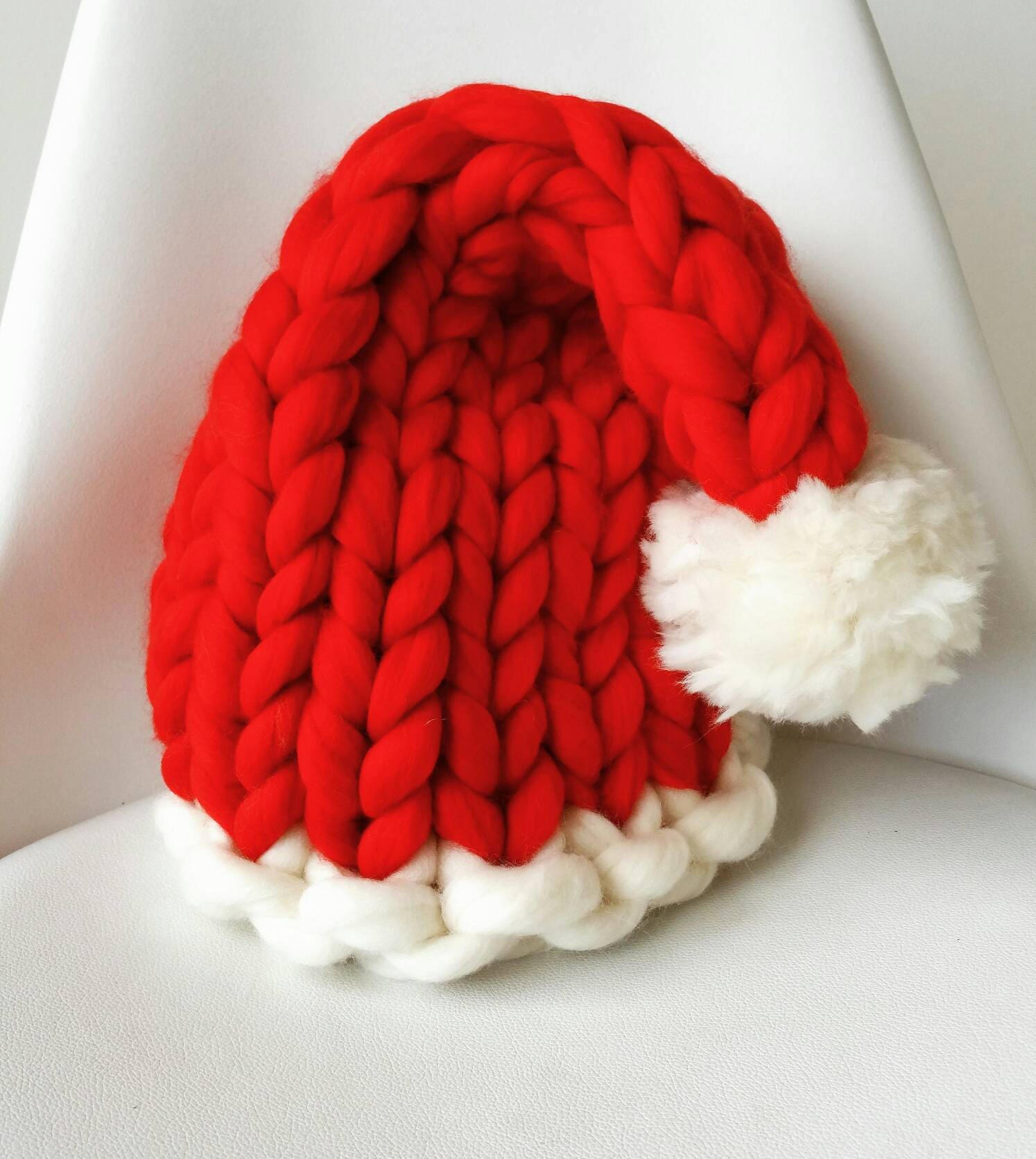 Hot Pink Knit Santa Hat Christmas gift for her