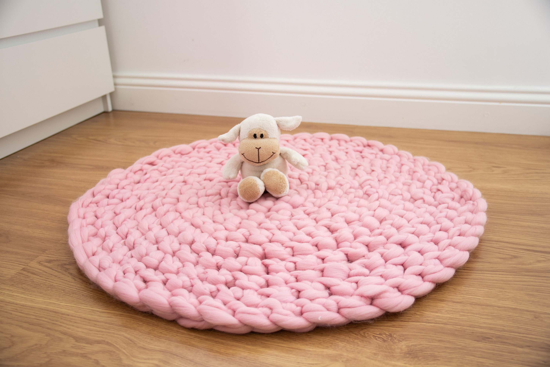 Pink Nursery Rug Floor Mat Chunky Knit Round Rug