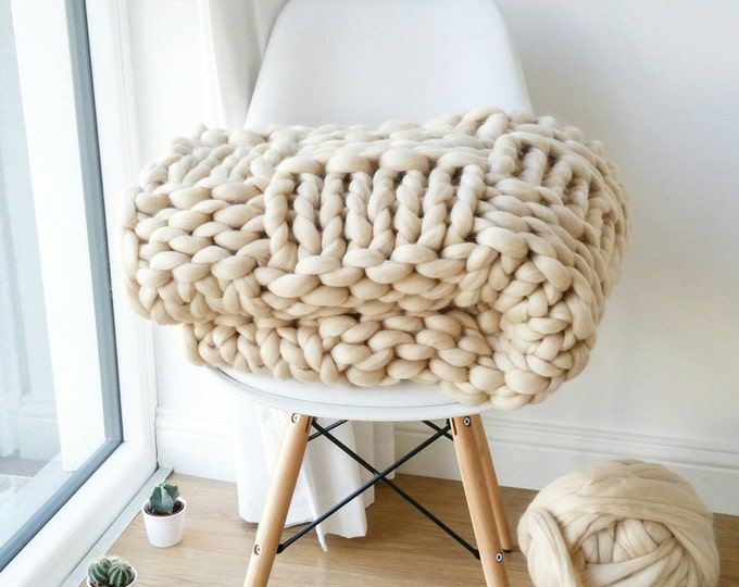 Featured listing image: Chunky Knit Blanket. Luxury Bed Runner. Giant Cream Throw. Merino Wool Rug