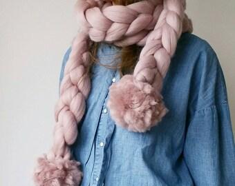 Knit Scarf Chunky Pompom Scarf