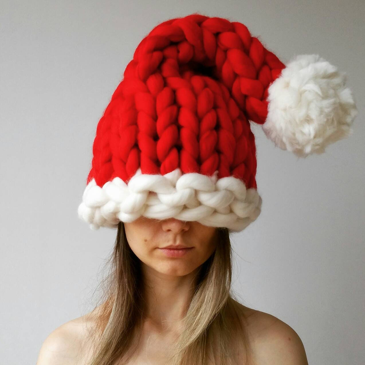 Chunky Knit Santa Hat Christmas 6ba94b28c3e