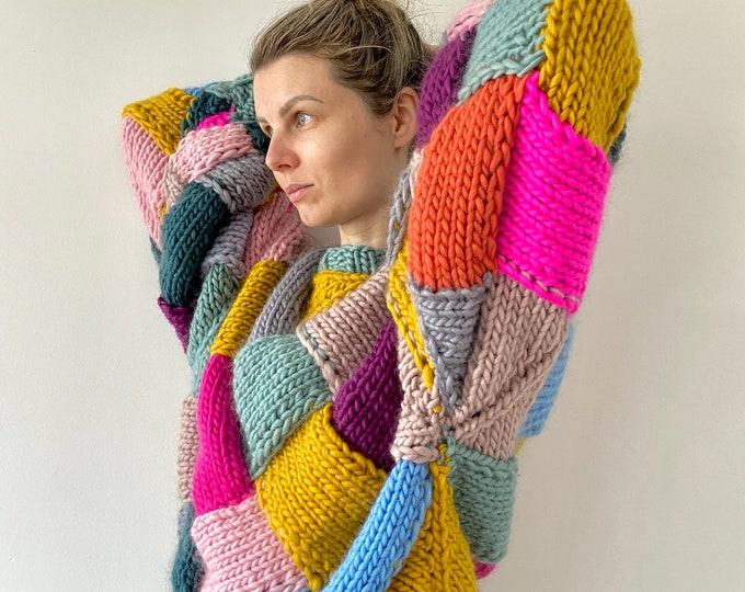 One of a kind Oversized merino wool jumper sweater cardingan