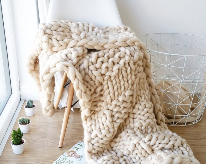 Featured listing image: Mothers Day Present DIY Knit Kit Extreme Knit Blanket Throw Merino Wool Blanket
