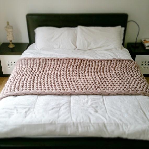 Runner Letto.Chunky Knit Bed Runner Merino Wool Throw Etsy