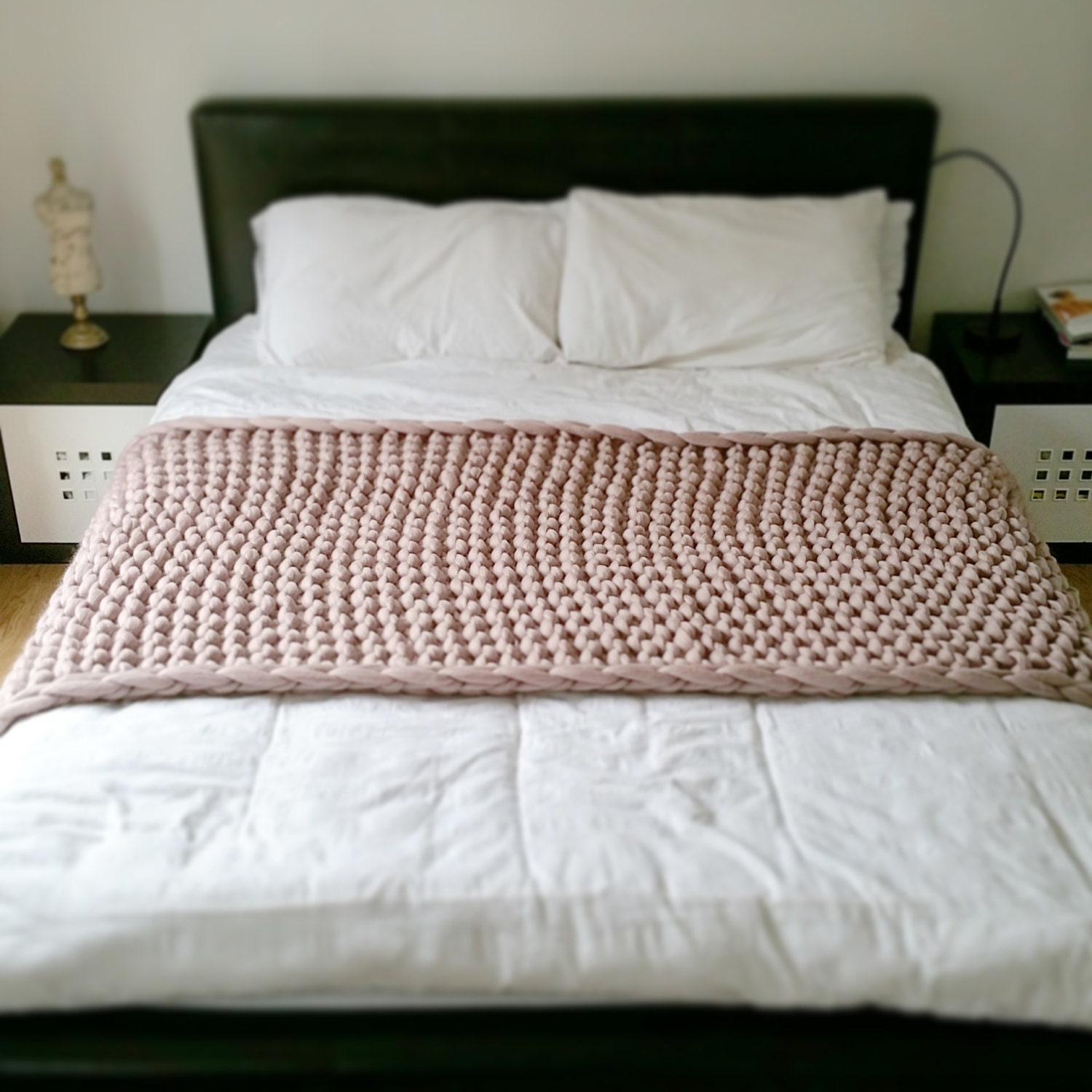 Chunky Knit Bed Runner Merino Wool Throw