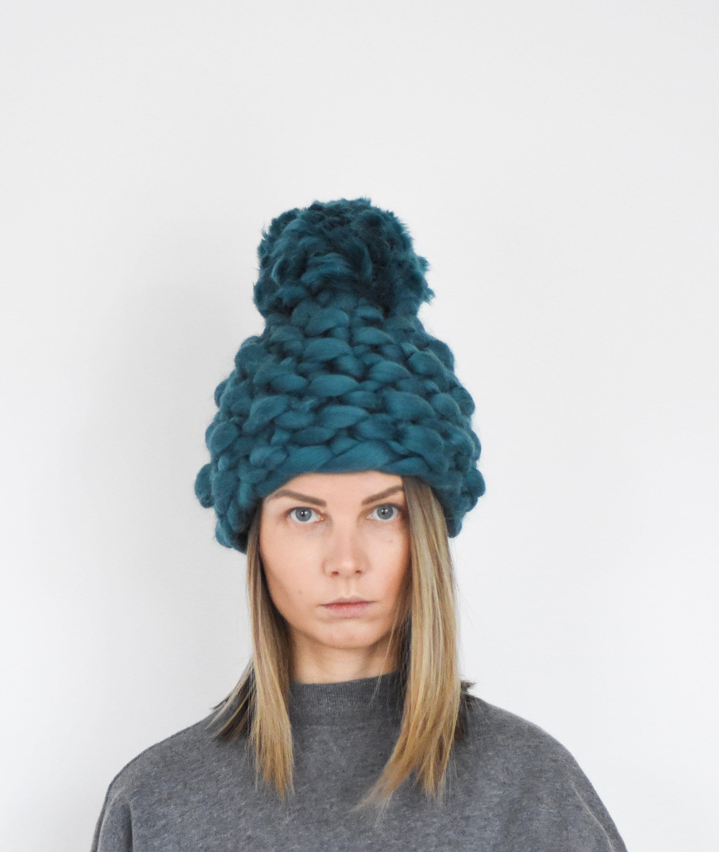 38ee45c3dda887 Chunky Pom Pom Winter Hat - Christmas gift for her