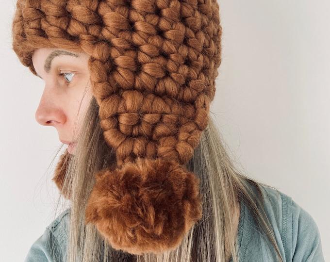 Ear Flap Hat Lagom Chunky Knit Merino Wool