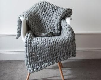Knit Kit. Extreme Knit Blanket. Throw. Merino Wool Blanket