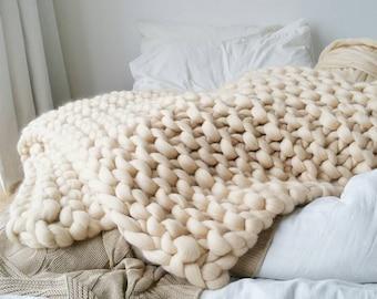 SALE Chunky Knit Blanket Luxury Cream Bed Runner