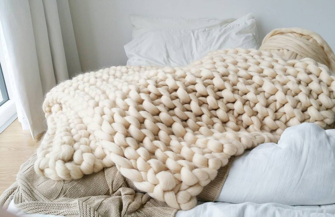 Chunky Knit Blanket Luxury Cream Bed Runner Chunky Knit Throw Merino Wool Rug Throw Bed Runner Knit Boho Minimalistic