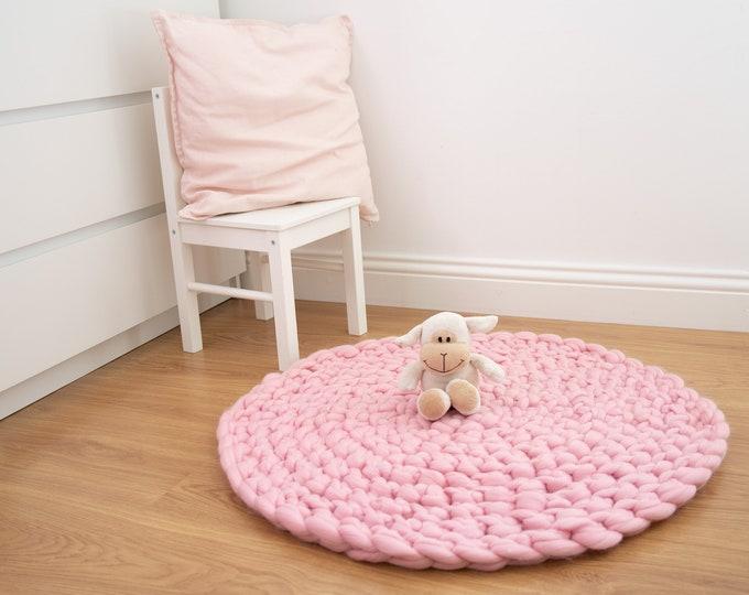 Pink Nursery Rug. Floor Mat. Chunky Knit Round Rug