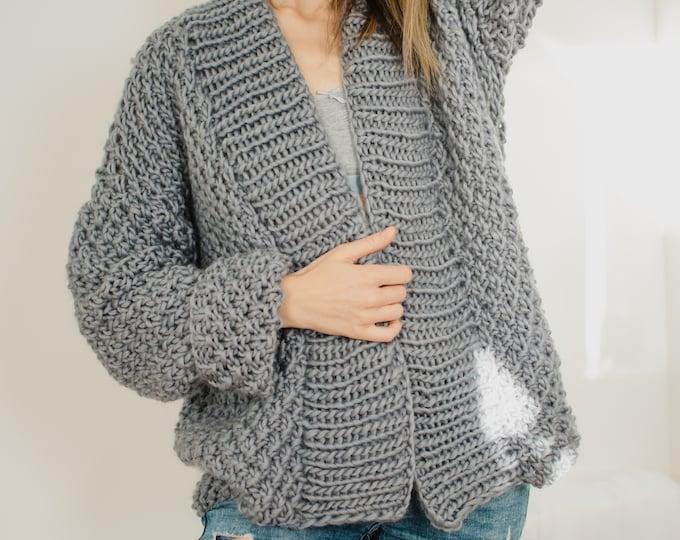 Anaise Grey Chunky Cardigan Merino Wool Handmade Eco Conscious