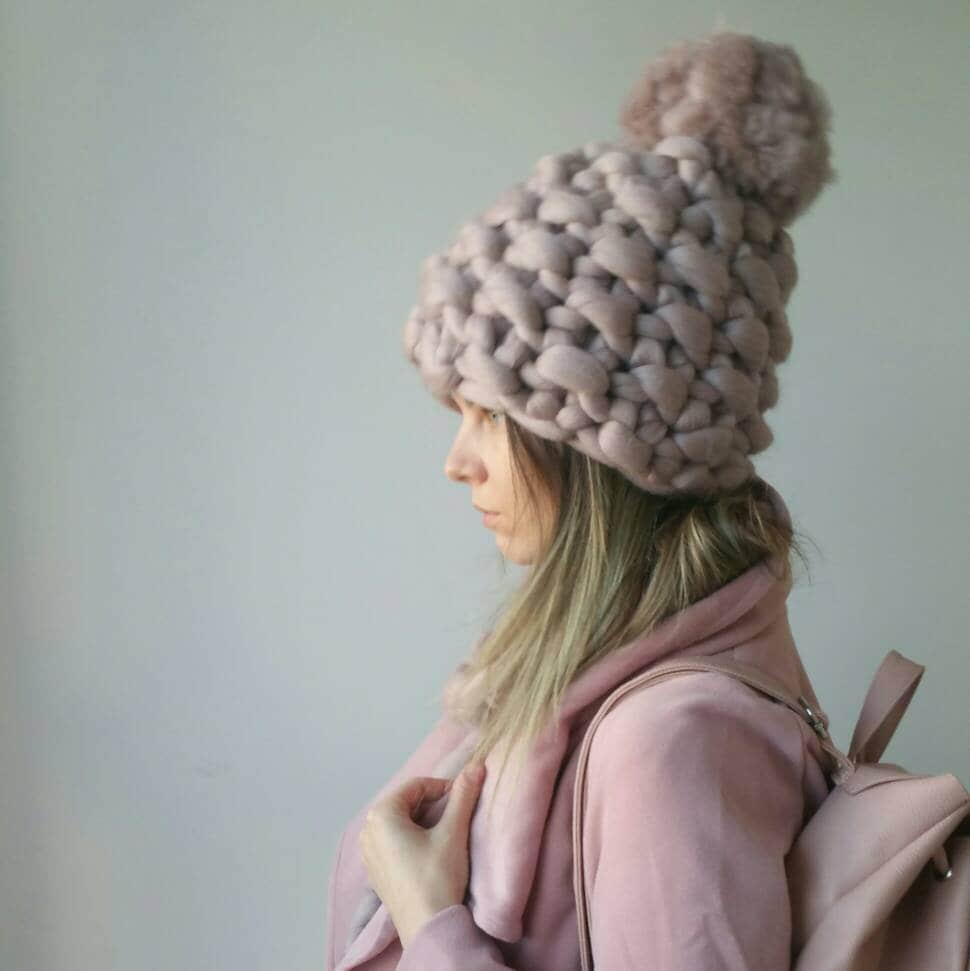 b7a0848a27f Chunky Pom Pom Winter Hat - Merino Wool - Gift for her Valentine