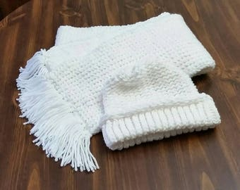 White Knit Hat and Scarf