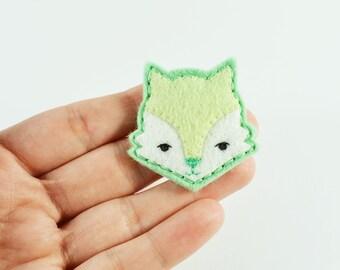 Happy Fox Felt Brooch / Mint Fox Pin / Mint Felt Fox Brooch / Whimsical Fox Brooch / Pink Fox Felt Brooch / Animal Lover Brooch