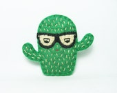 Angry cactus with glasses felt brooch