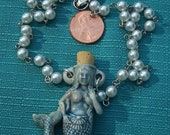 MERMAID Raku Perfume Bottle Ceramic necklace White Pearl Rosary Chain Ocean Blue