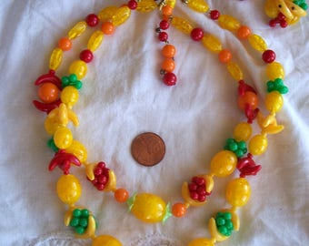 "STUNNING Vintage GERMANY ""Fruit Salad"" Beaded Celluloid  Necklace & Earrings!"