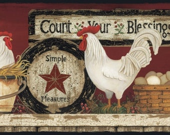 CB5538BD Hen And Rooster Floral Country Wallpaper Border